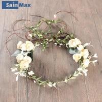 artificial flower headband women wreath hair band stylish flower crown party wedding beach sainmax gift bridal accessories