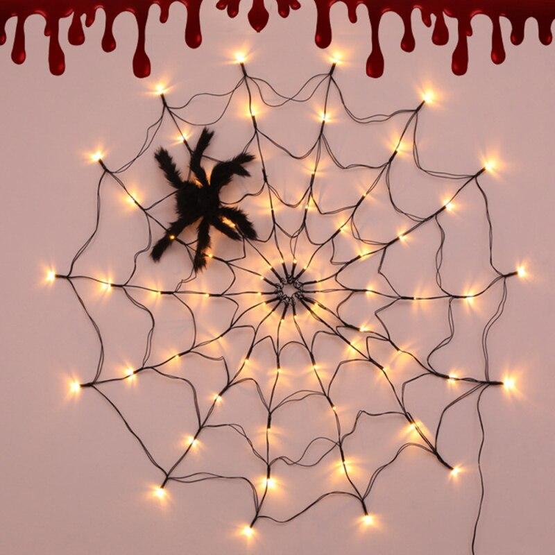 led halloween aranha web string string luzes da lampada ajustavel diy pendurado horror