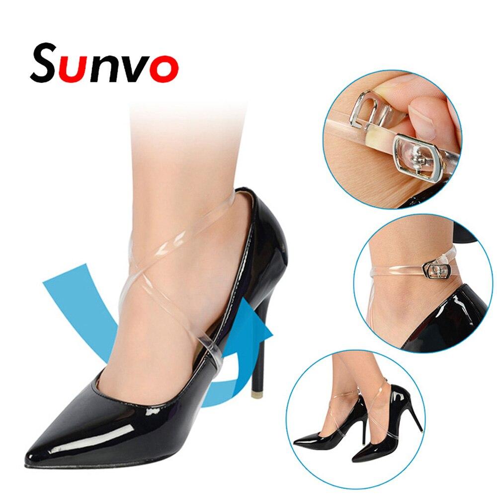 Sunvo 58CM Invisible transparente elástico tobillo zapatos bandas para mujeres tacones altos zapato de bloqueo Tie cordones de silicona con botón
