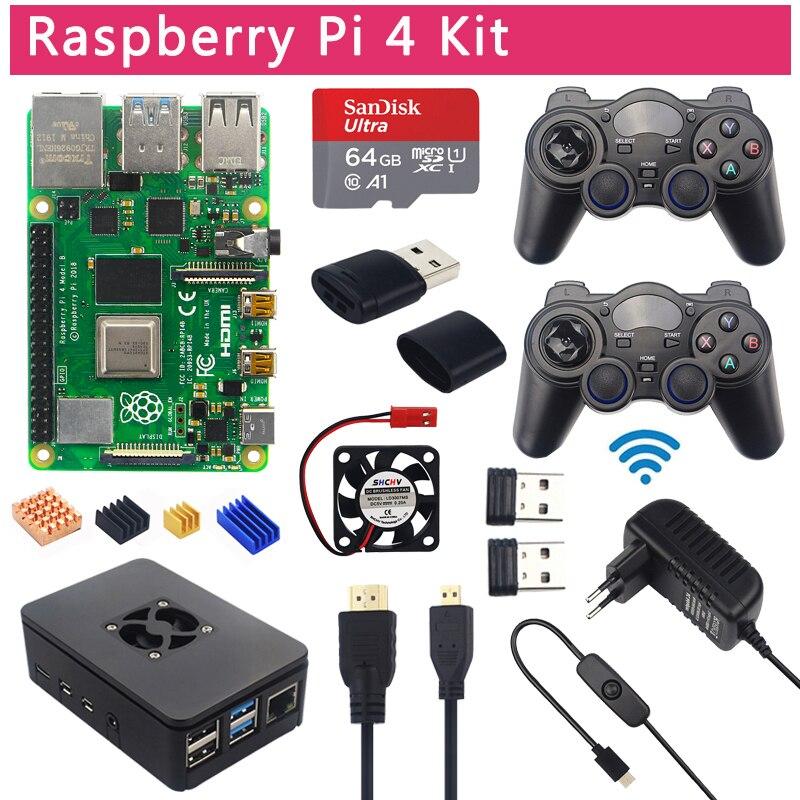 Raspberry Pi 4 Modelo B juego Kit 8GB + 2,4 Ghz Gamepads inalámbricos + 64G 32G tarjeta SD + caja + interruptor fuente de alimentación + ventilador + Cable HDMI