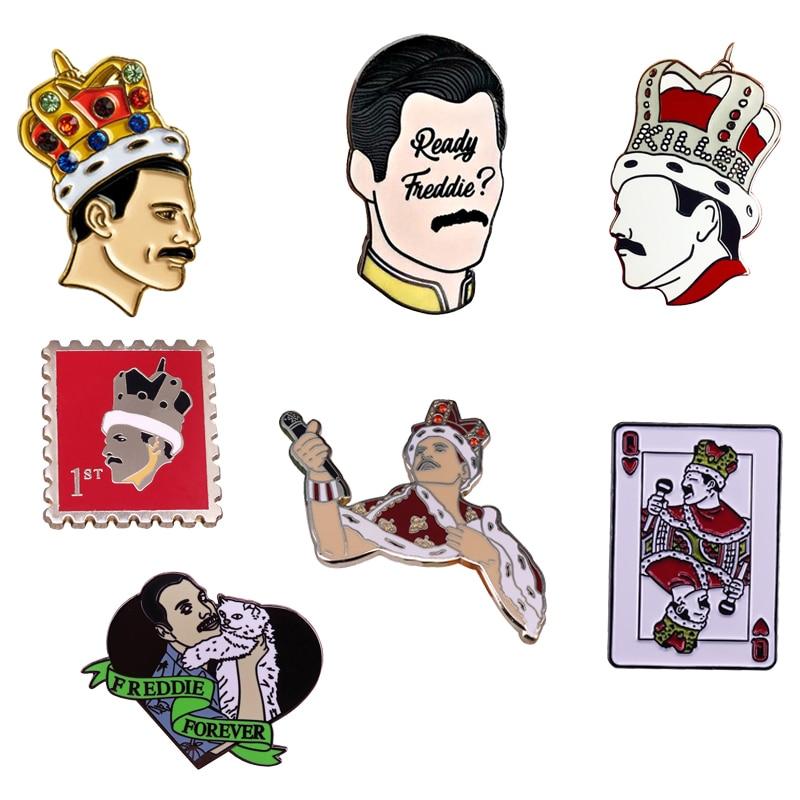 Freddie Mercury the Rock Band Queen Music Lovers Enamel Brooch Pins Badge Lapel Pins Alloy Metal Fashion Jewelry