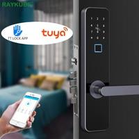 RAYKUBE Biometric Fingerprint Door Lock Bluetooth TT Lock Wifi Tuya Electronic Smart Door Lock Security Big Mortise Lock R-FZ4