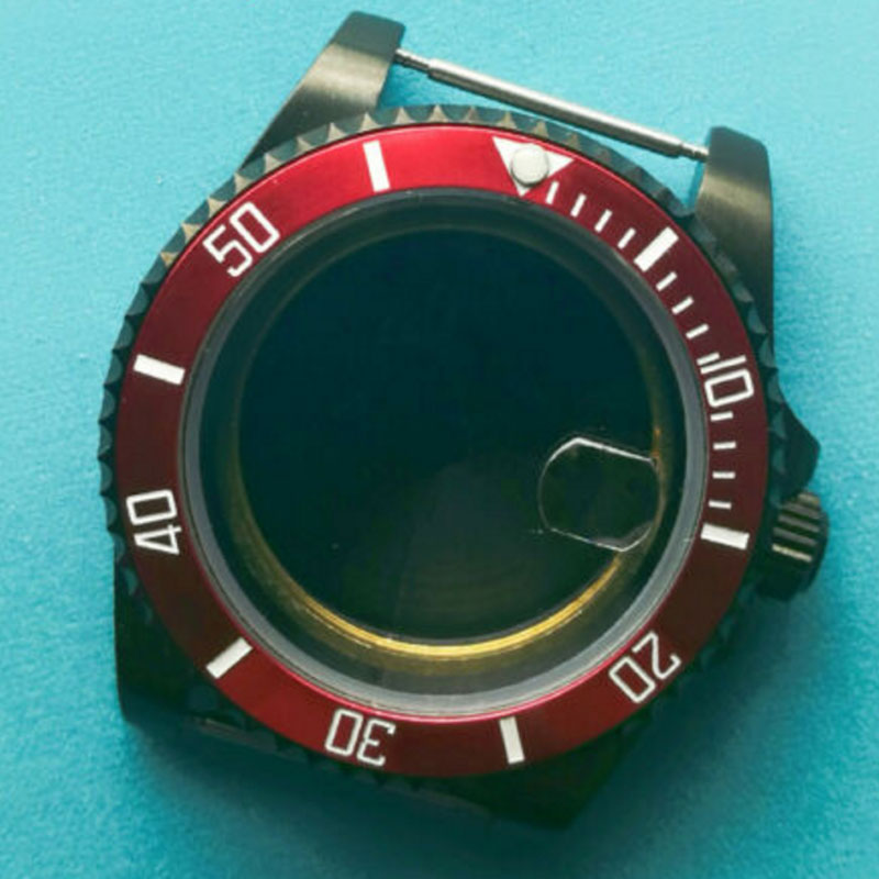 Caja del reloj del bisel rojo del cristal del zafiro de 40mm Ajuste el movimiento de ETA 2824 2836