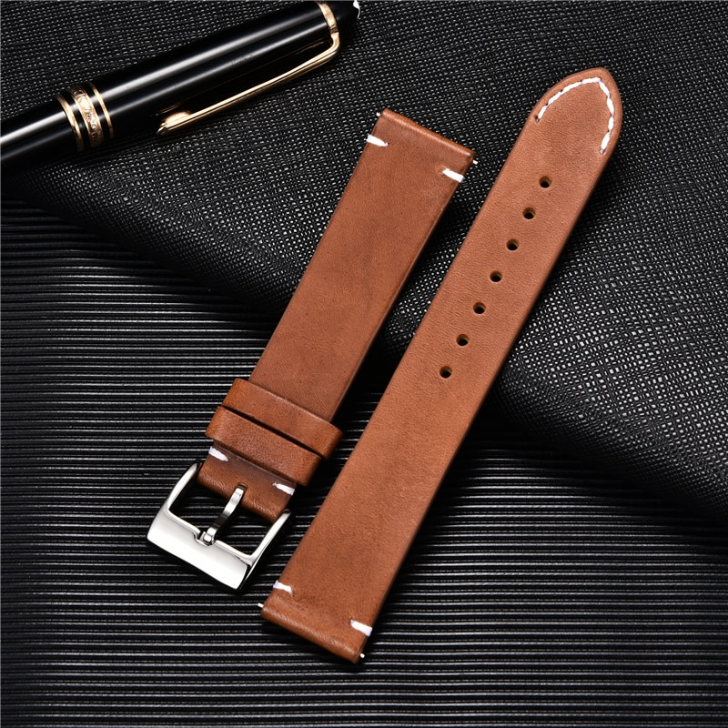 Quick Release Leather Watchbands 18mm 20mm 22m 24mm Casual Belt Smart Watch Strap Soft Matte Bracelet Wrist Watch Band calfskin leather watchband quick release watch band wrist strap 18mm 20mm 22mm 24mm smart watch strap watches accessories