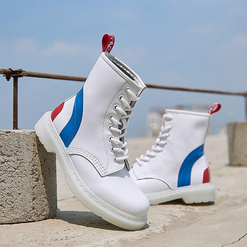 Botas de Mujer de cuero genuino tobillo Martens botas para Mujer Casual Dr. Motocicleta Zapatos cálidos de piel invierno pareja Zapatos Mujer