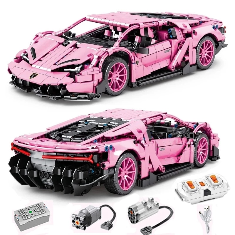 Technique Racing Centenario Building Blocks MOC Simulation Pink Super Sports RC Car Model Bricks Kid
