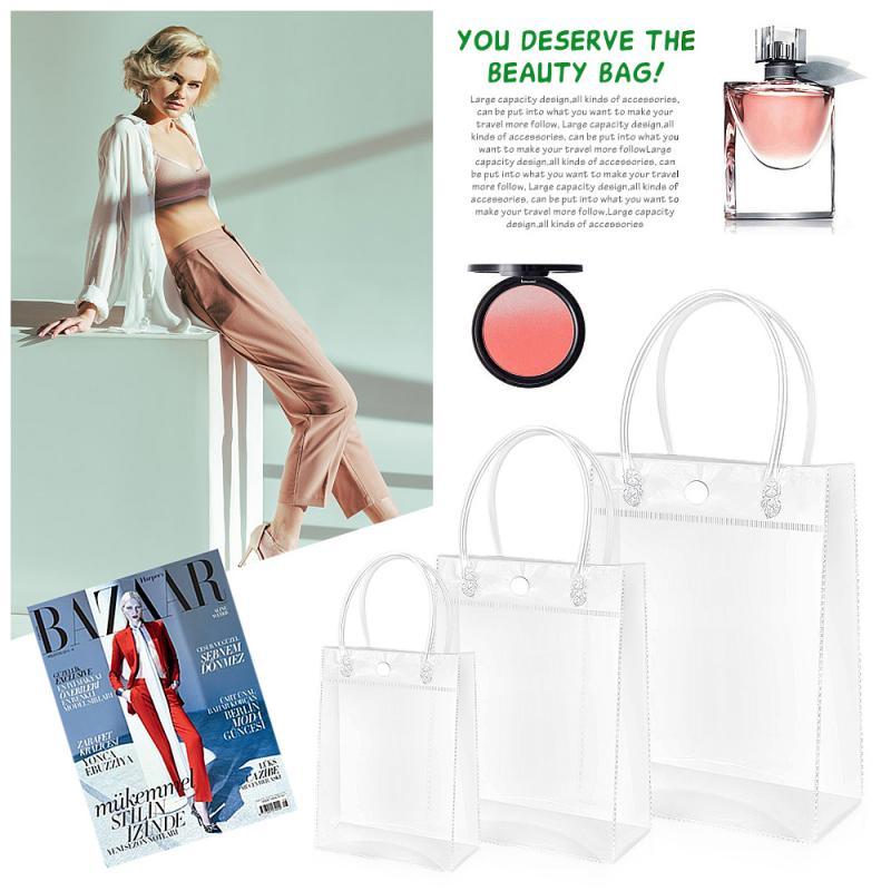 Bolso transparente de PVC, para regalo de Navidad, con asas, bolsa de viaje, bolsa de gelatina, bolsas de hombro para maquillaje 1 unidad