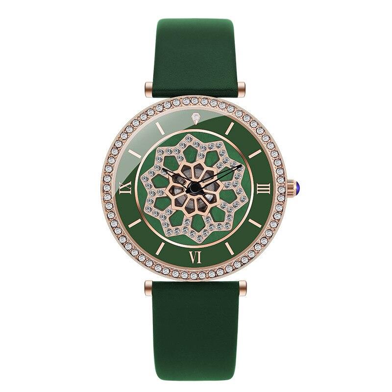 Cinto de Couro Relógio de Pulso Nova Rotação Verde Mulheres Relógios Flor Moda Ladies Ver Casual Quartz Zegarki Damskie 2021