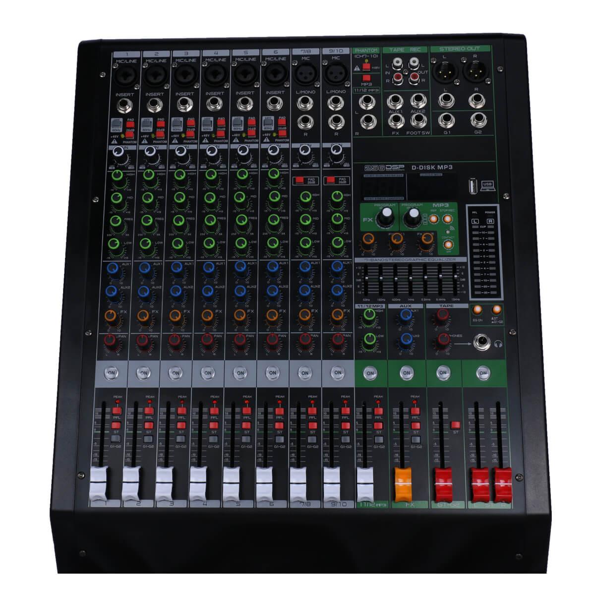 المهنية جهاز مزج الصوت 10 قناة خلط وحدة التحكم الرقمية 256 DSP استوديو كارت الصوت مع واجهة بلوتوث USB