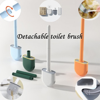Golf Silicone Toilet Brushes With Holder Set Long Handled Cleaning Brush Detachable Handle Wall-mounted No-dead Angle Cleaning
