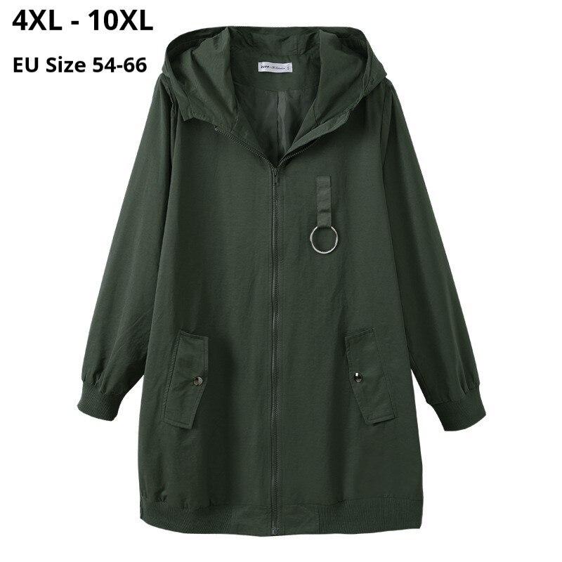 حجم كبير 10XL 9XL 8XL 4XL المرأة طويلة الأكمام الخريف الربيع معطف واقٍ من المطر فام مقنعين ألف خط ملابس علوية غير رسمية ضئيلة معاطف طويلة