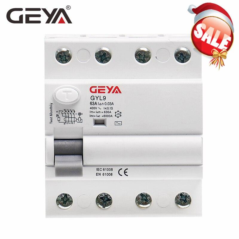 GEYA GYL9 AC выключатель переменного тока дифференциальный выключатель безопасности 4P 40A 63A 100A ELCB FP 30mA 100mA 300mA