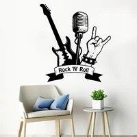 Autocollants muraux en vinyle  Cool  Rocknroll  Microphone guitare  autocollants musicaux  decoration de maison  Pub de musique  decoration de chambre dadolescent  Y618
