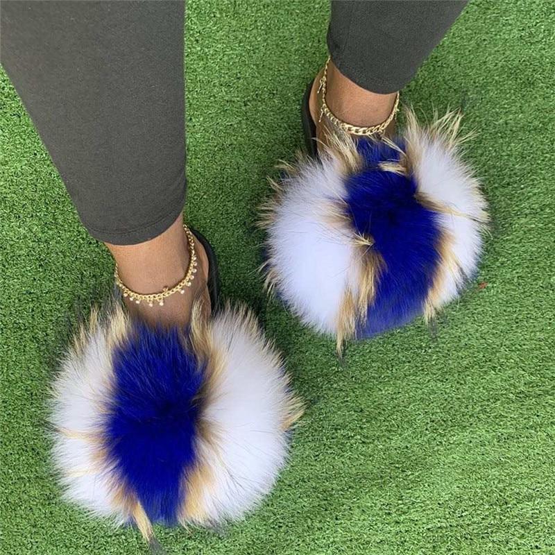Summer Women Raccoon Fur Slippers Ladies Plush Slides Female Furry Sandals Fluffy House Shoes Girl's Cute Flip Flops Large Size