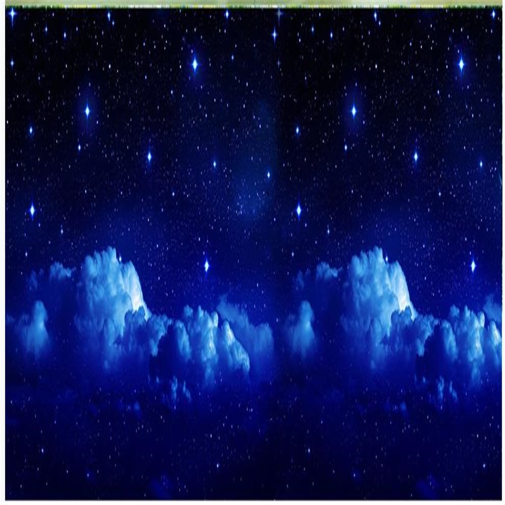 Fondo de fantasía en 3D con cielo estrellado y Luna, fondo espacial, fondos de pantalla azules, papel tapiz de stras