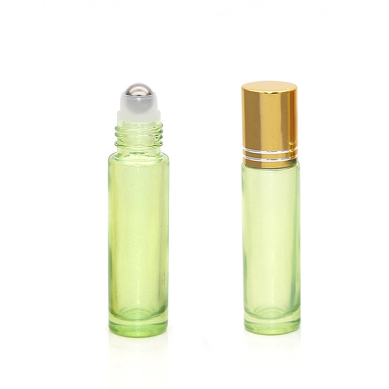 1/5pcs 10ml Thick Portable Pearl Colorful Glass Roller Essential Oil Perfume Bottles Travel Refillable Roller Ball Bottle