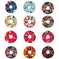 1pcs christmas printed scrunchies for women velvet hair ring handmade hair accessories fashion geometric print hair rope