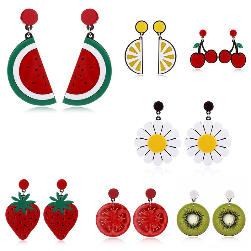 Nuevos Fruta de resina bonitos pendientes colgantes para mujer, pendientes de acrílico de cerezas rojas, tomates, Kiwi, naranja, sandía, pendientes para mujer, joyería Bohemia