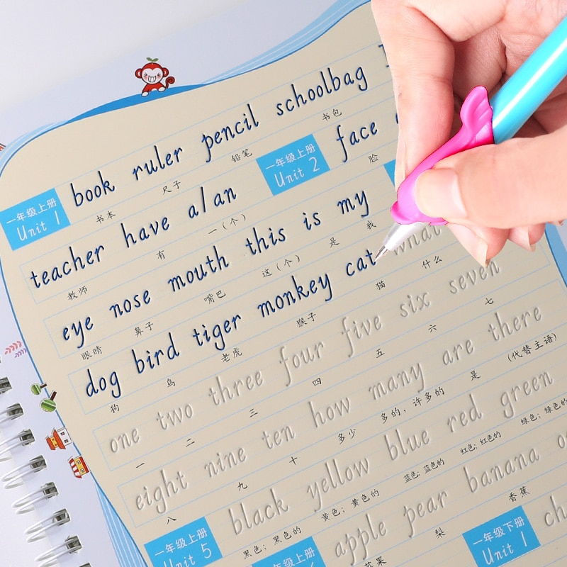 Inglês alfabeto palavra letras itálico italiano escrita auto seco repetir prática copybook crianças criança 3d sulco exercício livro