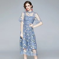 zuoman women summer elegant embroidery mesh dress festa high quality blue wedding party robe femme vintage designer vestidos