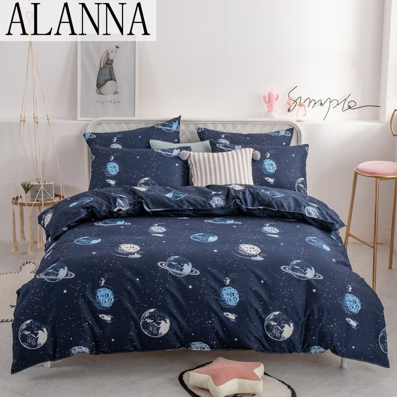 ALANNA HD series bedding set Pure cotton A/B double-sided pattern Simplicity Bed sheet quilt cover pillowcase 4-7pcs