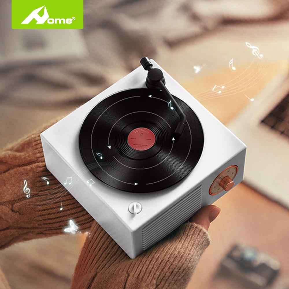 Portable Bluetooth Wireless Speaker With Record Player Turntable Speaker Mini Steel Retro Atomic Bass Surround Loudspeaker