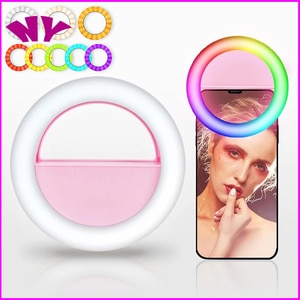 LED RGB Clip on Selfie Ring Light Rechargeable Battery ringlight for Smart Phone Camera Round Shape Lighting Hoops Light Ring