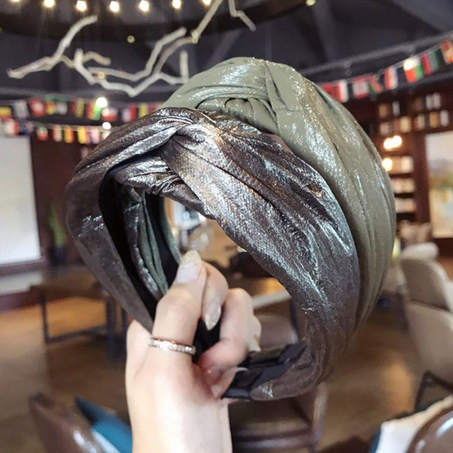 Haimeikang Cruz bisel cabeza aro imitación cuero charol diadema brillante tocado ancho damas accesorios para el cabello