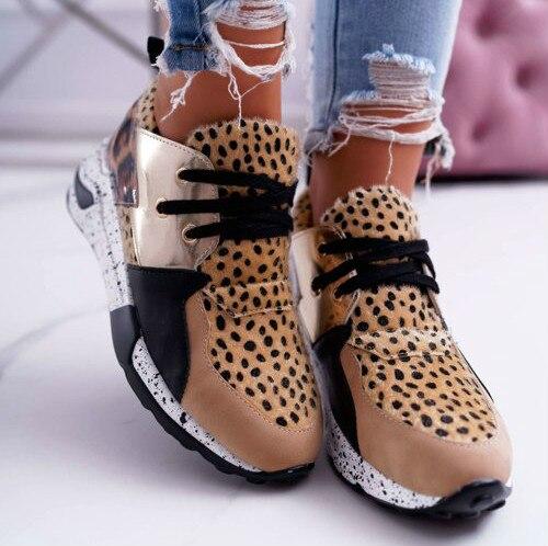 2020 New Women Casual Shoes Breathable Ladies Sneakers Leopard Print Faux Fur Sneakers Lace-up Platform Sports Shoes Women
