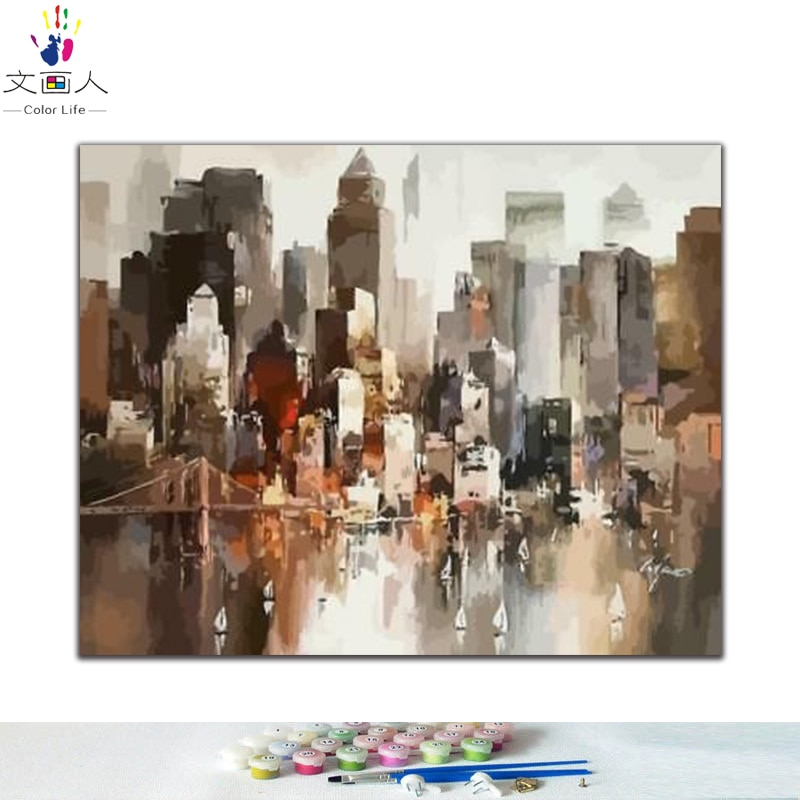 Nuevas imágenes de colores DIY por números con dibujo de ciudad marina pintura en relieve por números