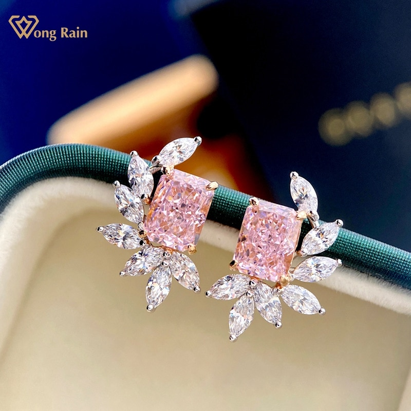 Review Wong Rain 100% 925 Sterling Silver Pink Created Moissanite Gemstone Wedding Party Fahion Ear Stud Earrings Fine Jewelry Gift