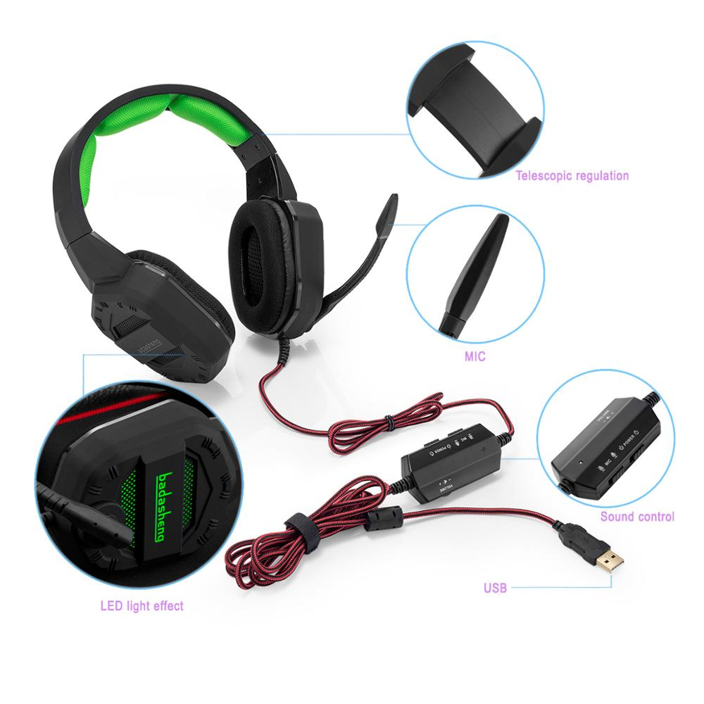USB Gaming Headset ps4 headset Virtual 7.1,USB Interface Gaming Headphones for ps4,nintendo switch,PC,Laptop,LED light headset enlarge