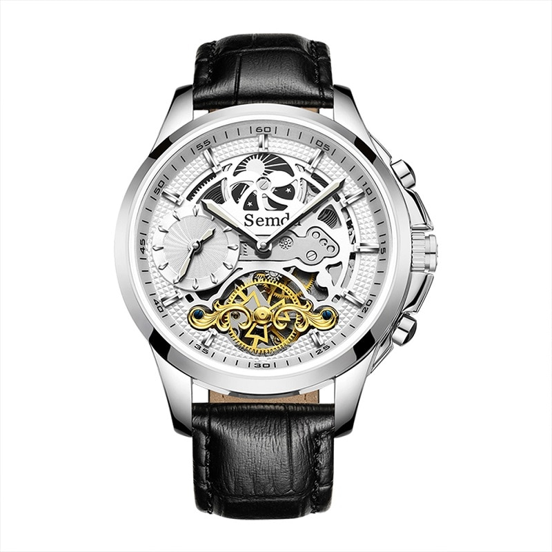 Mens Watches Automatic Skeleton Watches for Men MoonPhase Dual Time 5ATM Waterproof Leather Strap Mechanical Watches
