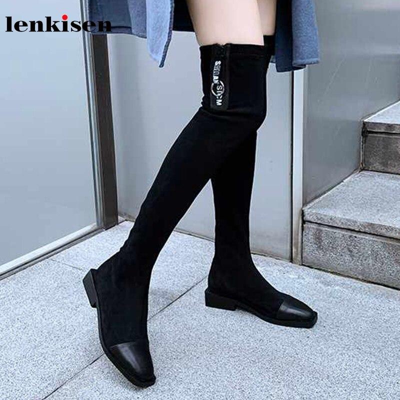 Lenkisen heißer Internet stern kuh leder stretch stiefel karree med heels winter warm halten frauen zipper über-die -knie stiefel L71