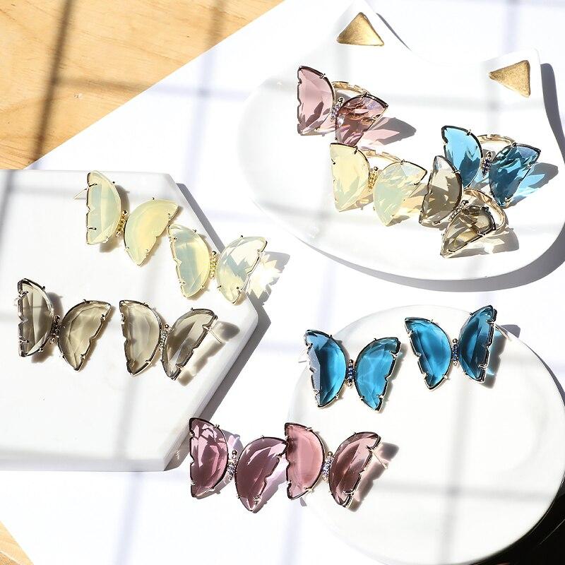 XIUMEIYIZU, novedad de verano, pendientes de mariposa morandy Stone, hermosos pendientes de novia y anillo, conjunto de temperamento femenino, joyería de latón