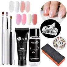 Mtssii ongle acrylique Poly ongles Extension Gel ensemble rose blanc clair cristal UV LED constructeur ongles Gel Solution de glissement Extension rapide