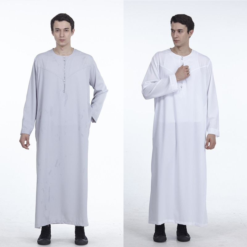 Kaftan Muslim Jubba Thobe Islamic Abaya Pakistan Saudi Arabia Clothes Casual Long Sleeve Men Clothes Arabic Costume