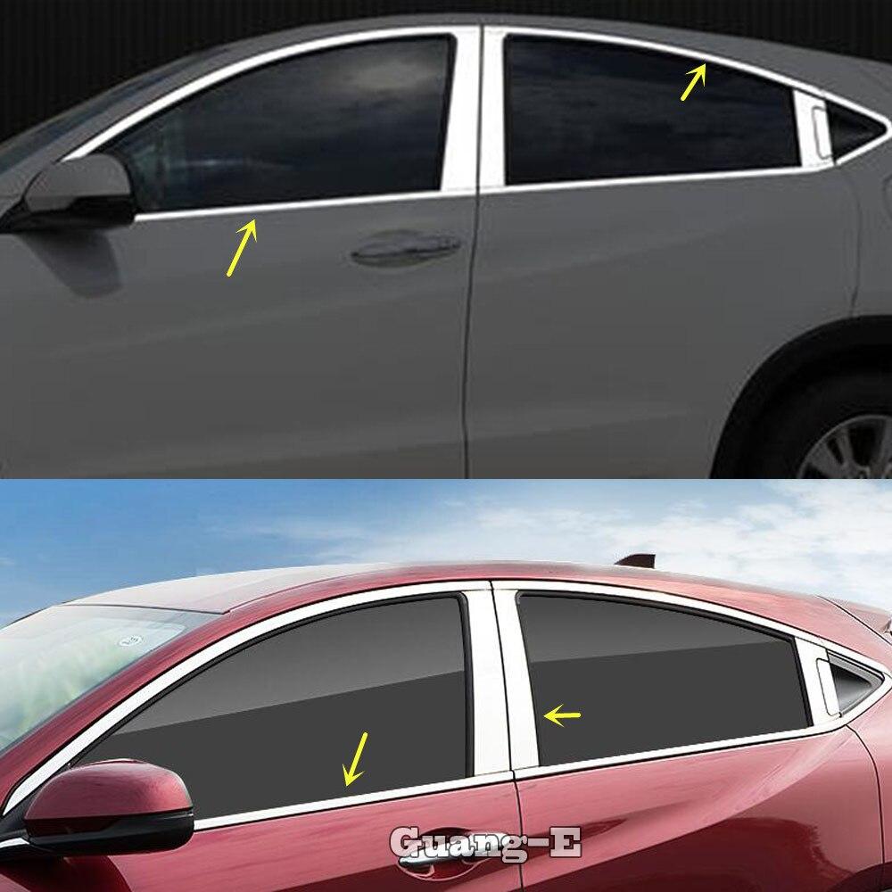Molduras de marcos de tira media de Pilar decorativo para ventana de cristal de acero inoxidable para Honda HRV HR-V Vezel 2019 2020