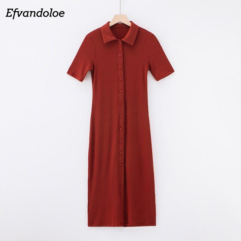 Vestido Polo de punto Efvandoloe, vestido informal Midi para mujer, cuello vuelto, manga corta, ceñido al cuerpo