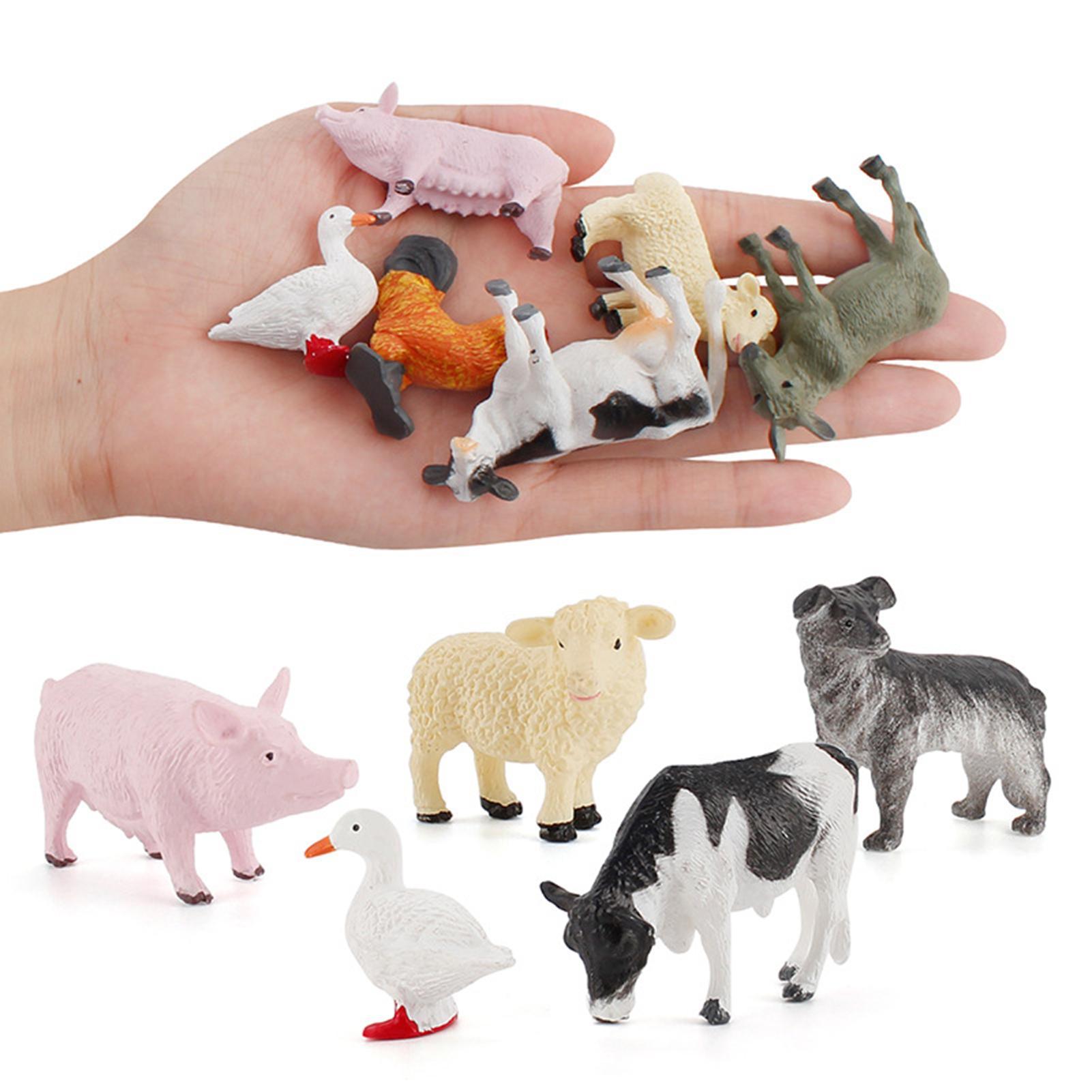 AliExpress - 12Pcs/Set Cartoon Animal Farm Poultry Landscape Mini Ornament Garden Decoration Kids Educational Toys for Children Gifts