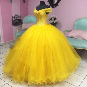 Yellow Ball Gown Party Dresses Off The Shoulder Debutante Sweet Evening Dresses Long Formal Gown For Women Elegant Dubai