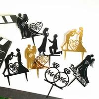 golden acrylic cake topper anniversary wedding cake topper party decoration silhouette princess insert dessert supplies