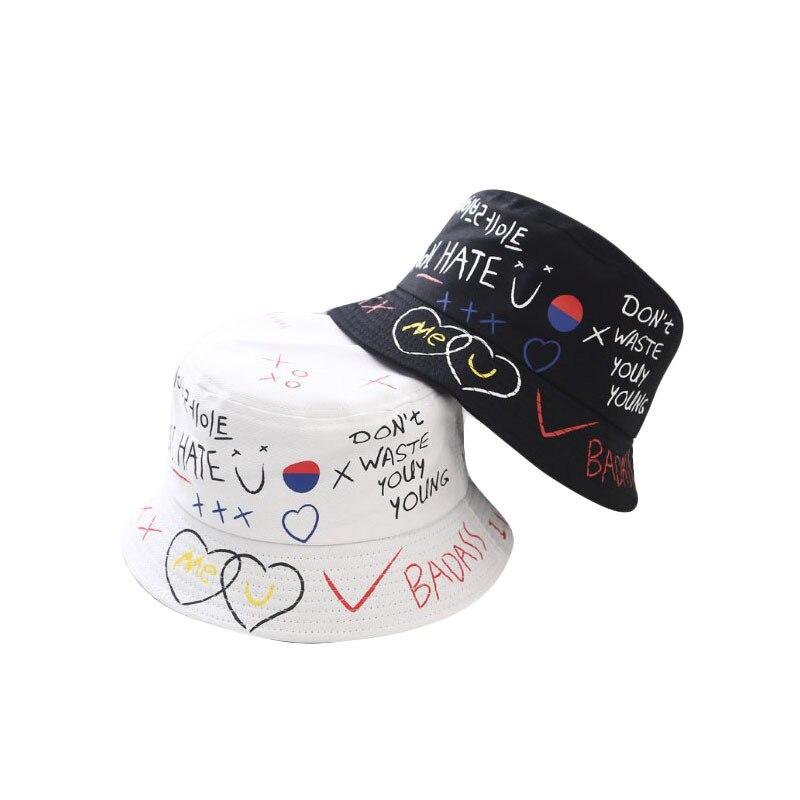 Fisvds New Summer Casual Bucket Hats Men Women Unisex Couple Hip Hop Letter Printed Cotton Panama Fishing Caps