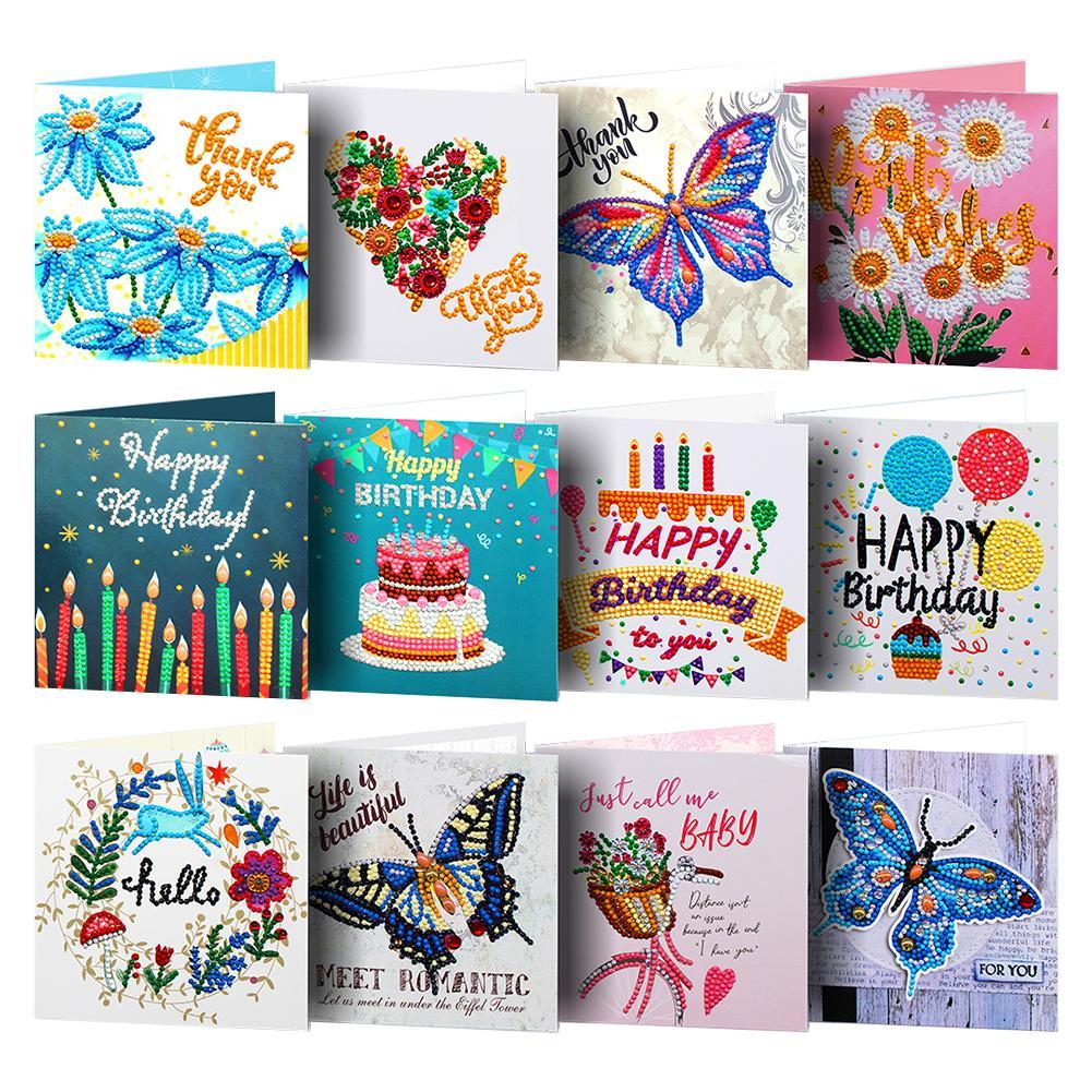 12 Uds 5D DIY pintura de diamante tarjeta de felicitación forma especial diamante bordado tarjetas de cumpleaños tarjetas postales regalos manualidades de punto de cruz