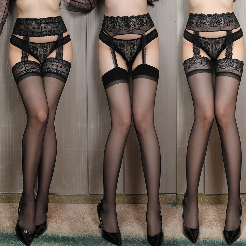Sexy Exotic Stockings With Garter Lace Tights Pantyhose Women Transparent Open Crotch Apparel Hosiery Fishnet Black Socks Gifts