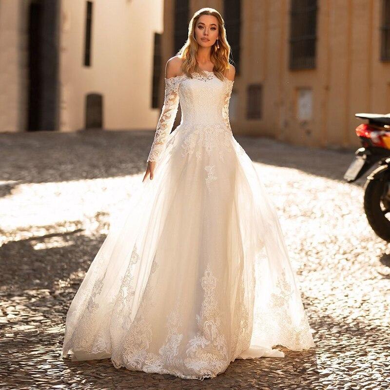 Eightale boêmio vestidos de casamento barco pescoço renda mangas compridas vestido de noiva vestido de noiva novia con mangas encaje