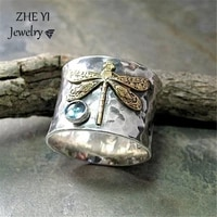 zheyi vintage two tone dragonfly rings for women silver color acid blue crystal metallic ring lover couple promise love jewelry