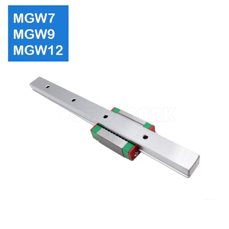 MGW7-rail linéaire miniature   Pièces de 300 350 400 500 600mm, 1 pièce guide linéaire + 1 pièces MGW7H