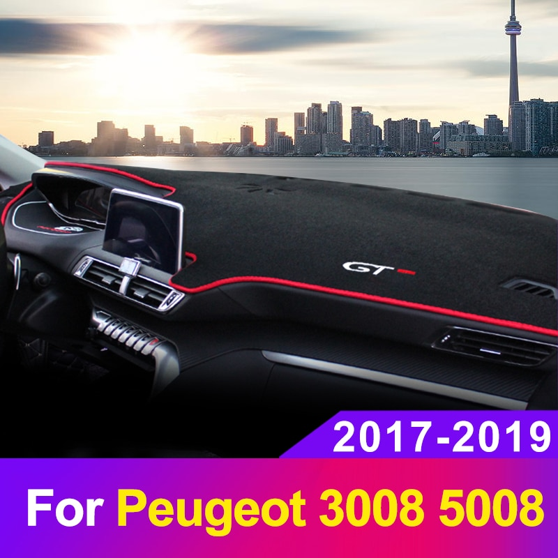 Car Dashboard Cover Mat Dashmat Sun Shade Pad Instrument Panel Carpets Anti-UV For Peugeot 3008 5008 2017 2018 2019 Accessories
