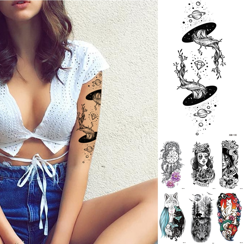 Resistente al agua pegatina temporal Geometric Planet tatuaje negro tatuajes cuerpo brazo hombres tatuajes falsos cadenas